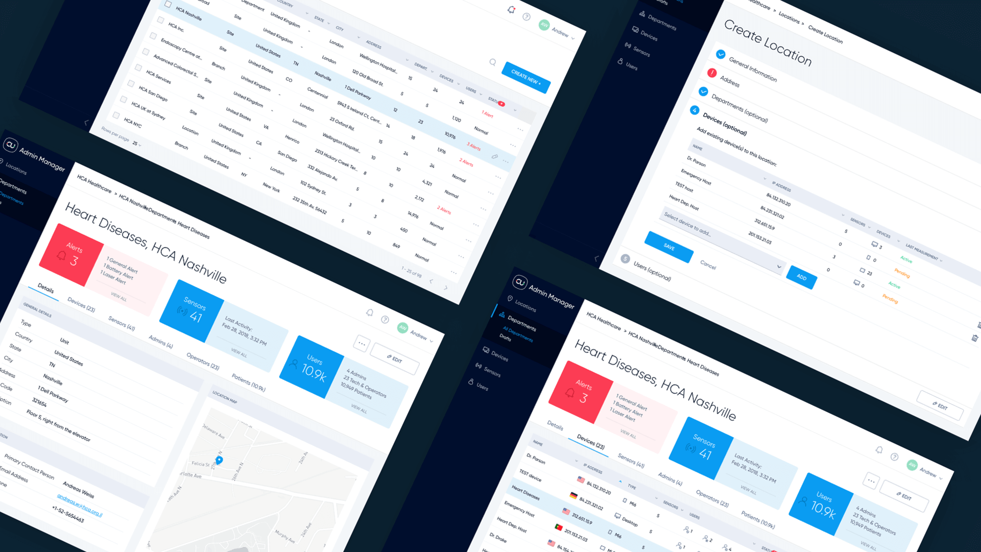 Donisi Health admin console ux ui