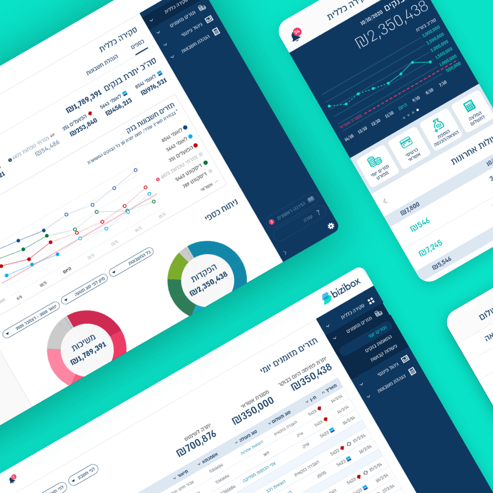bizibox fintech mobile app and dashboard ux ui